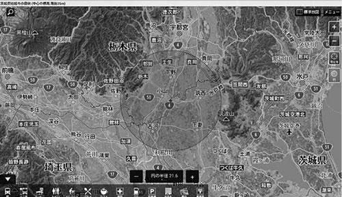 小山市を中心に半径約20キロの円で描いた「新4号線工業地帯」のイメージ図